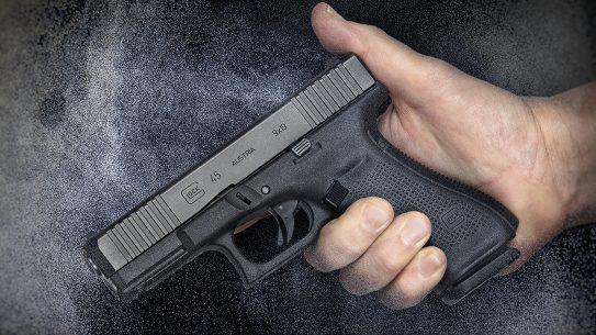 Glock 45 pistol, G45 pistol first review, hand