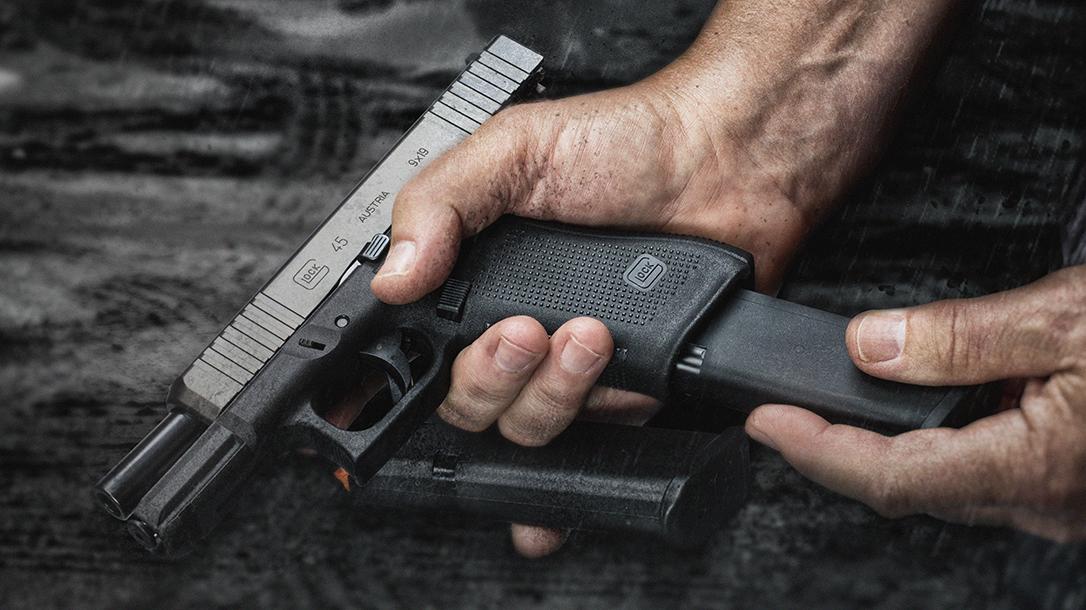 Glock 45 pistol, G45 pistol first review, magazine