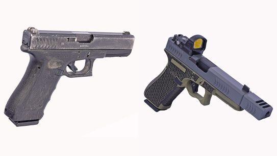 Glock 22 9mm conversion, Glock 22 RTF2 pistol, comparison