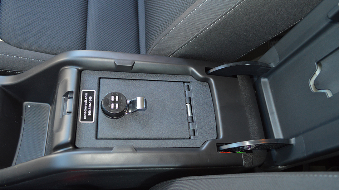 In car holster and gun box from Console Vault