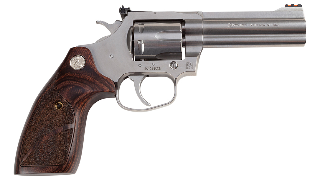 The competition revolver in .357 Magnum feature custom, wood medallion grips.