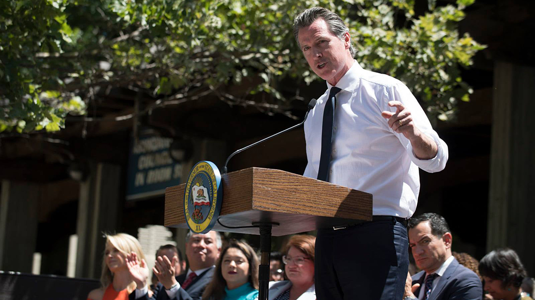 Gavin Newsom, California passes nation's toughest laws for seizing guns.