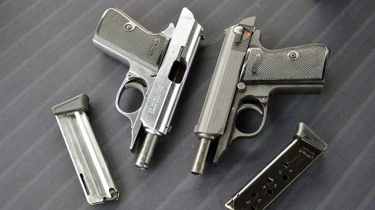 The Walther PPK/s .22 LR (left) and .380 with 10- and 7-round magazines.