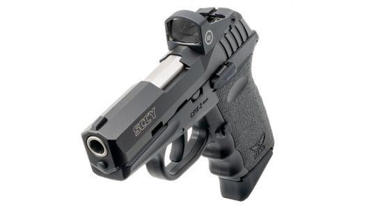 The Crimson Trace CTS-1500 comes standard on the pistols.