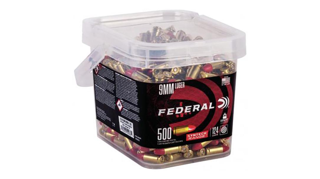 Federal Syntech Bulk Buckets offer 250-500 rounds of ammo.