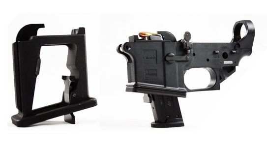 The Matador Arms Mag-X conversion kits enables AR-15 lowers to accept pistol magazines.