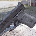 The POF G43X slide features several lightening cuts. G48
