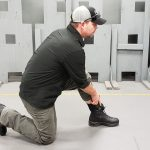 When using ankle holsters, drop to one knee for a stable base.