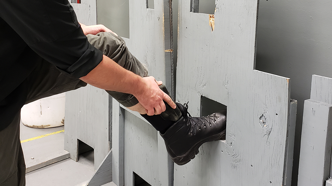 When utilizing cover to draw from ankle holsters, post up on something solid for stability.