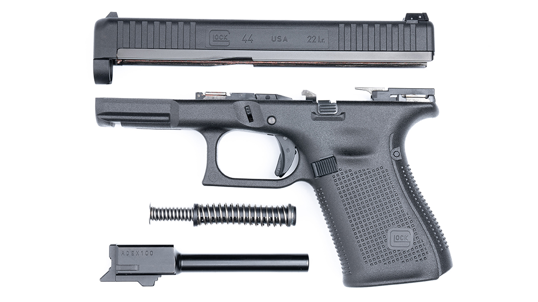 The G44 is all traditional Glock in terms of disassembly.
