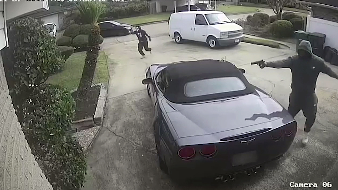 A Houston wife pulled a gun and saved her husband from three armed attackers.