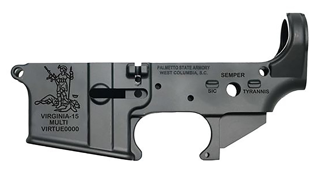 The Palmetto State Armory Virginia-15 lower receiver supports the 2A fight in the Commonwealth.