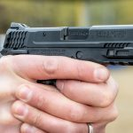 The Smith & Wesson M&P 9 Shield EZ pistol proved accurate during testing.