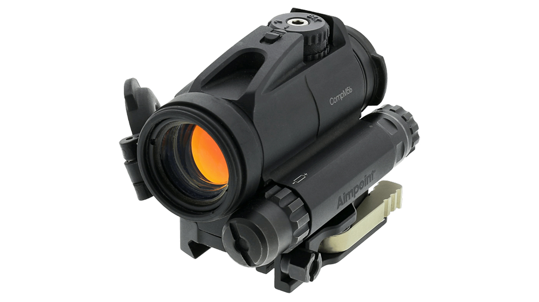 The Aimpoint CompM5b features a 2 MOA ballistic compensating reticle.