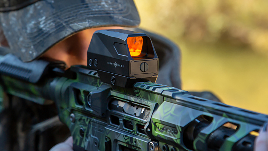 The Sightmark Volta blends solar power with a AAA battery power supply.
