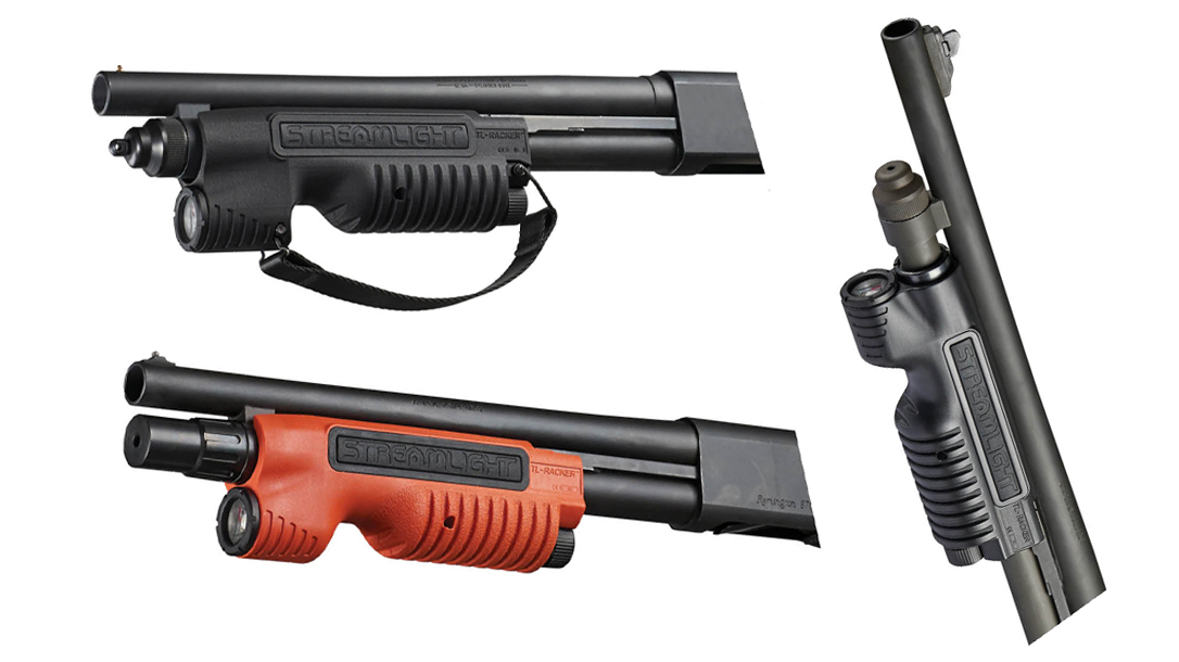 With several models delivering 1,000 lumens of bight light, the Streamlight TL-Racker increases the defensive capability of your Remington or Mossberg pump.