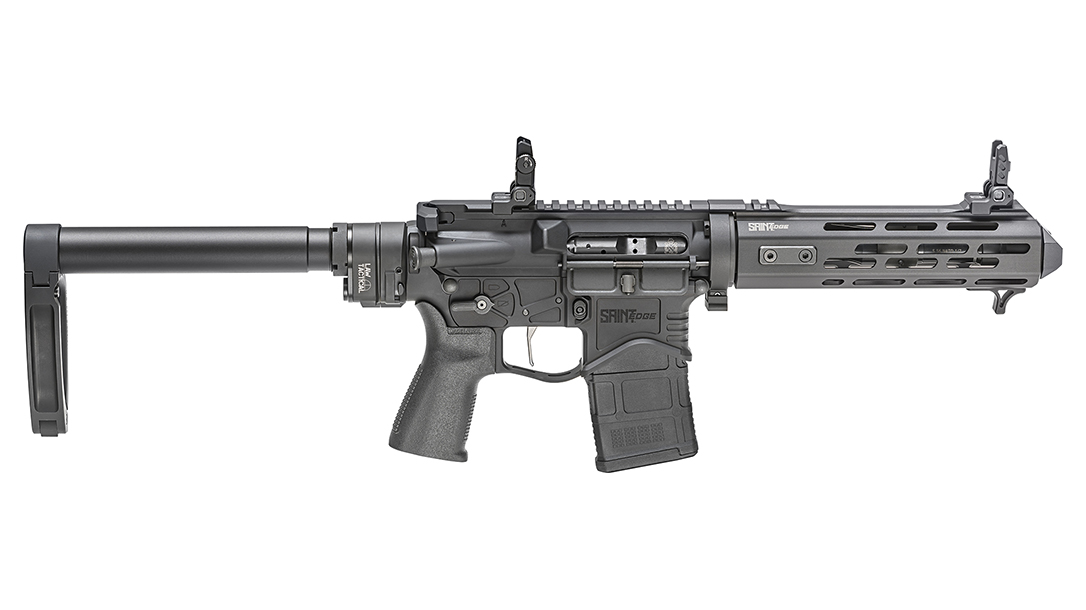 Fully extended, the Edge EVAC appears to offer everything normally associated in an AR pistol design.