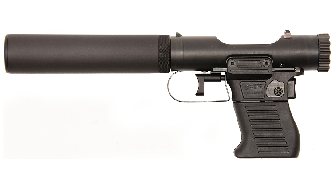 The VP9 breaks down into three pieces and is integrally suppressed.