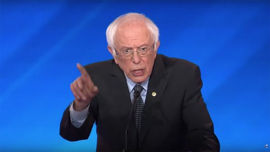 Attempting to distance himself from past voting record, Bernie Sanders appeals to left-leaning voters, boasting he will end sale of assault weapons in US.
