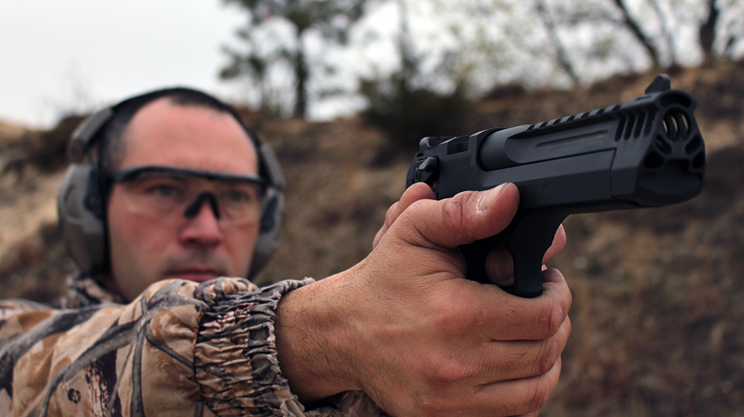 Legal for hunting in New York state, the hard-hitting .50 AE becomes lethal on game.