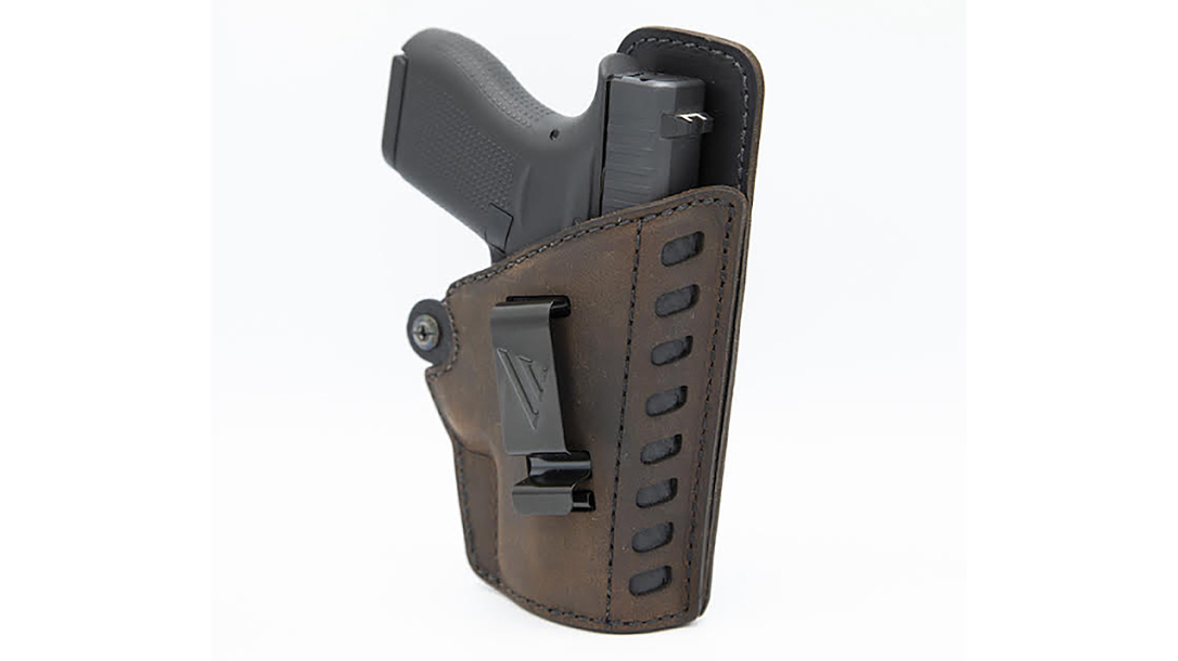 The Versacarry Compound Gen II Essential holster blends leather and polymer for a durable design.