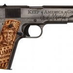 The Auto-Ordnance Promises Kept 1911 features a picture of President Trump on the right grip panel.