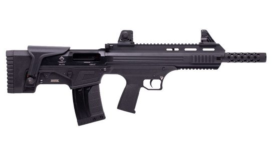 With an adjustable cheek pice and open sights, along with plenty of rail space, the Bull-Dog is versatile.