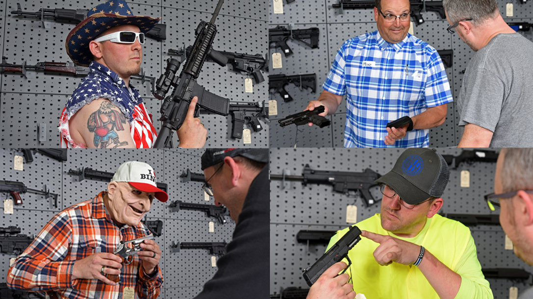 The gun store often is filled with a predictable cast of characters.