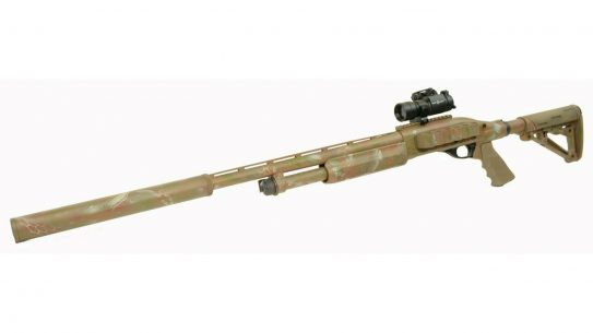 The new integrally suppressed works on Remington 870 and Mossberg 500 shotguns.