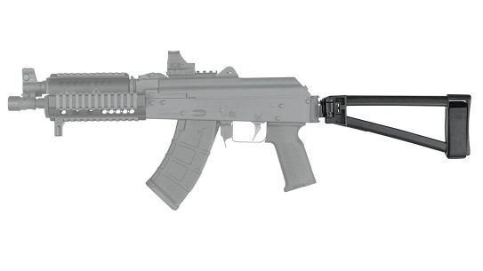 The SB Tactical TF1913 attaches to a Picatinny interface.