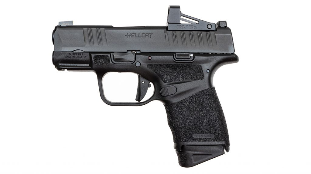 The Hellcat comes ready for carry optics with an included reflex sight.