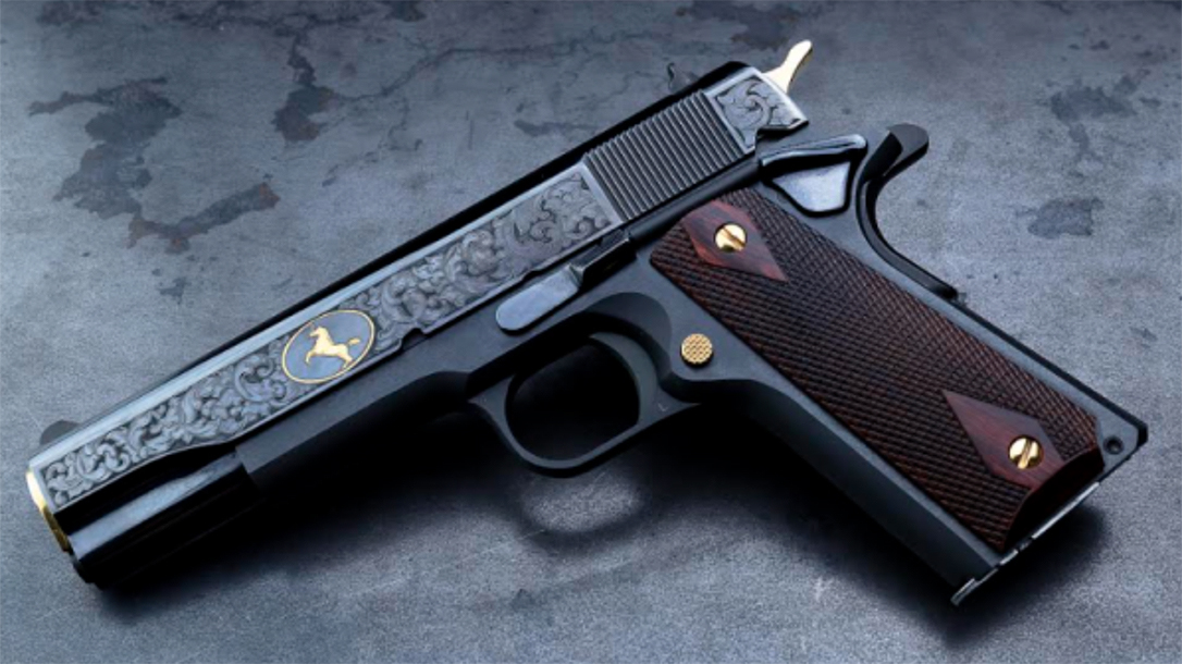 The Davidson's Colt 1911 Heritage pistols feature Baron Engraving's work.