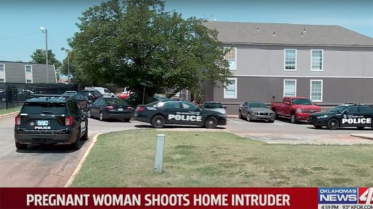 pregnant woman shoots intruder, oklahoma city