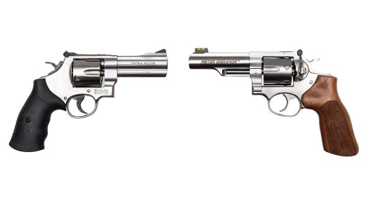 The Smith & Wesson Model 610 and Ruger GP100 Match Champion face off in a 10mm revolver battle.