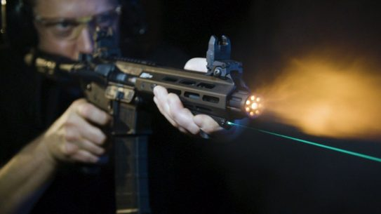 The Viridian HS1 combines a hand stop with a laser aiming device.