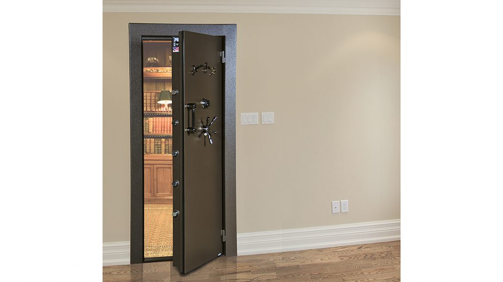 The American Security Vault Door provides a 2-inch thick barrier of steel plate and fire insulation.