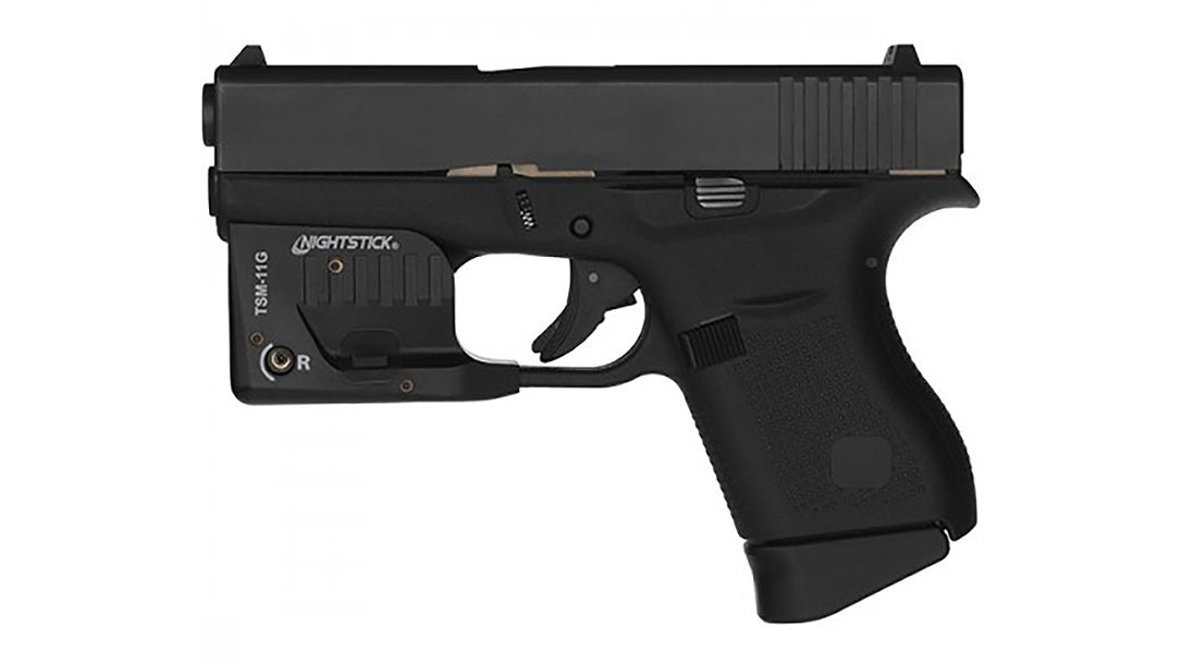 Nightstick weapon lights add white light and a green laser to subcompact Glock pistols.