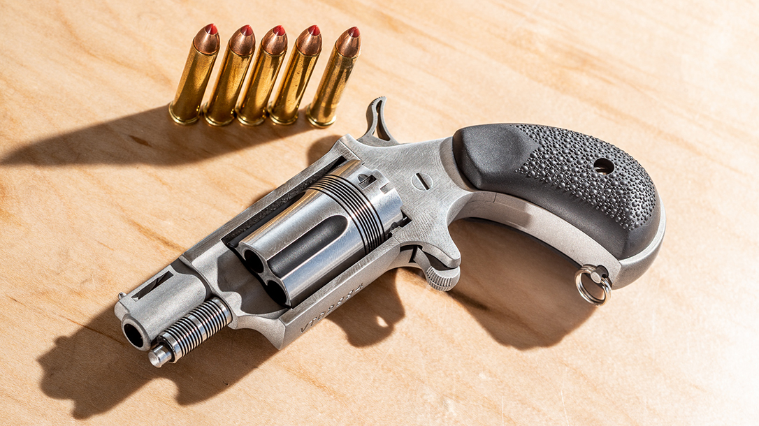 The NAA Wasp, chambered in .22 WMR, packs plenty of punch.