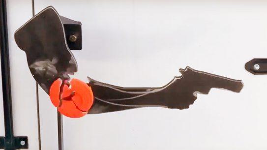 The Reactive Kenosha Clay Holder target emulates the famous Kyle Rittenhsouse shot in Kenosha, Wisconsin.