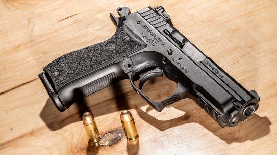 The SAR K2 45C chambers the hard-hitting .45 ACP cartridge.