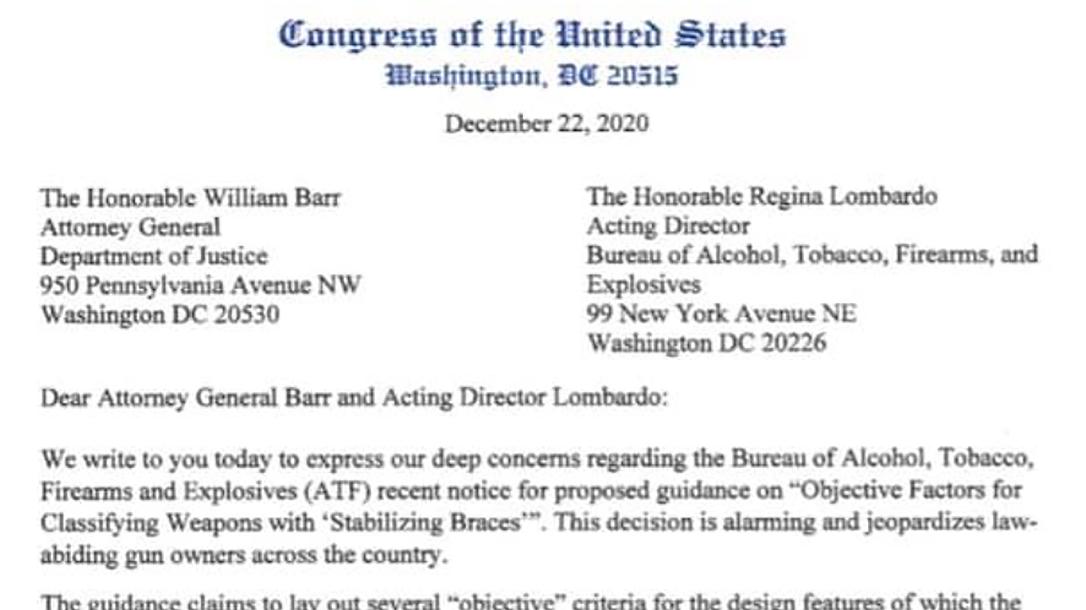 Congress Pistol Brace Letter, ATF