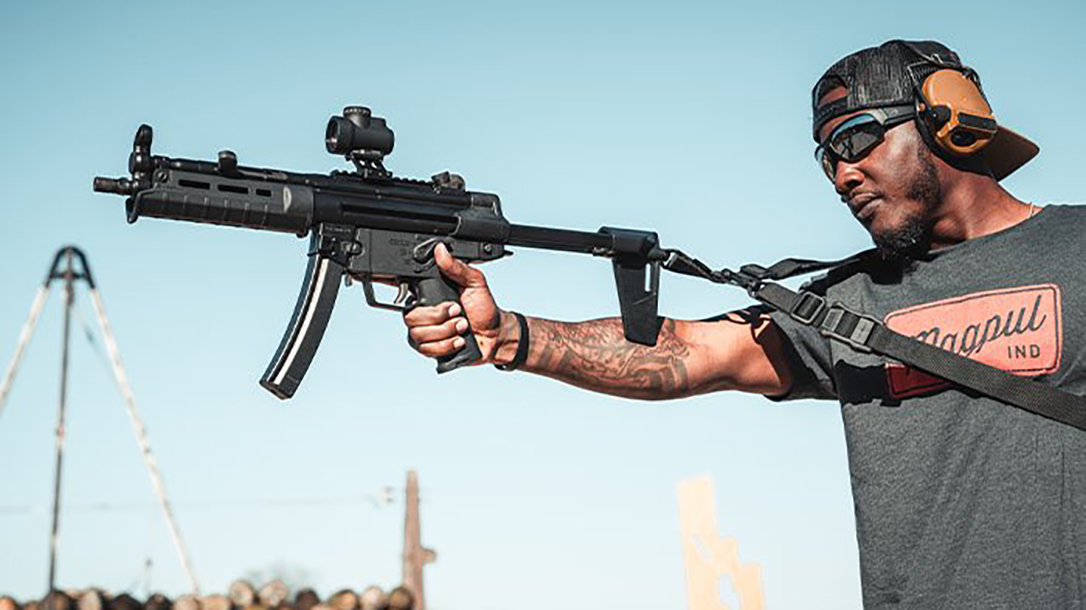 The new Magpul arm brace fits HK94 and MP5 pistols.