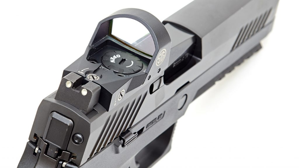 The new SIG Romeo sight is easily adjusted for both elevation and windage.