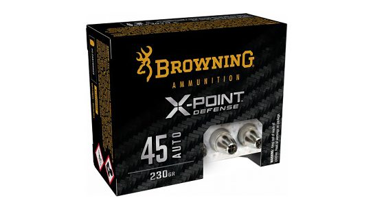 The new Browning X-Point Defense bullet design prevents obstruction of the hollow point cavity.
