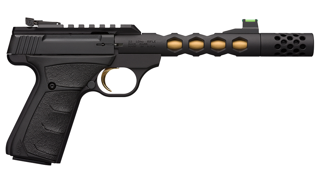 The new Browning Buck Mark Plus Vision Black/Gold comes suppressor ready.