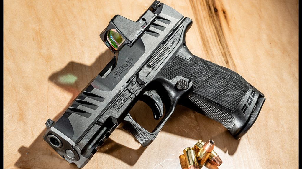 Walther PDP Compact pistol, left, reup