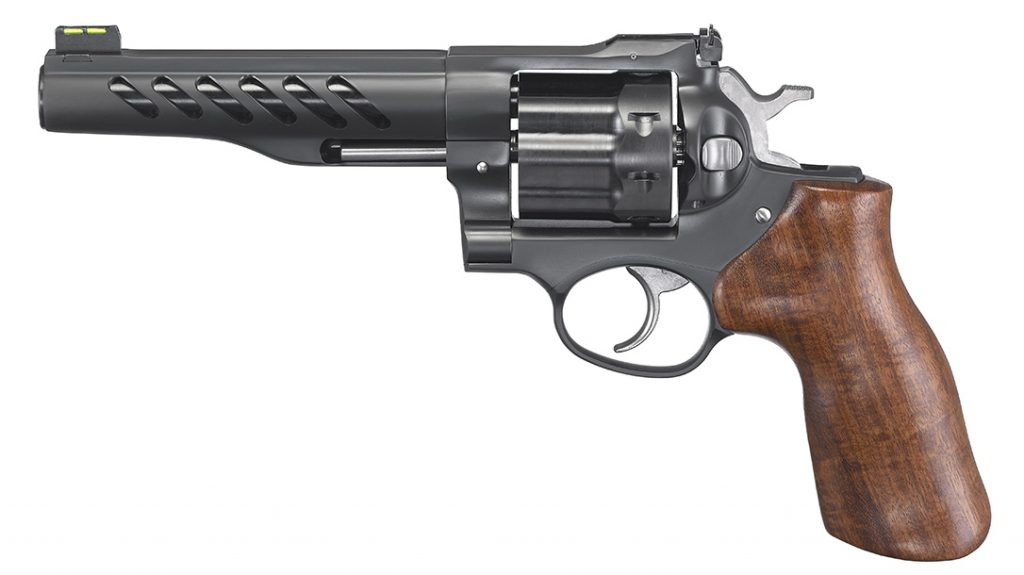 The Ruger Super GP100 weighs 47 ounces and includes adjustable sights.