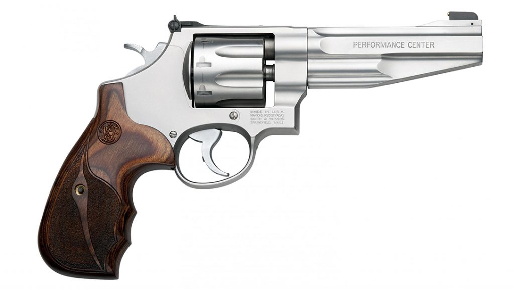 The S&W PC M627 sports a 9.5-inch barrel and weighs 43.2 ounces.