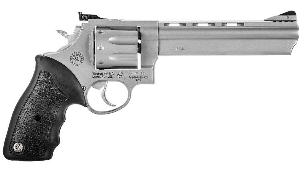 The Taurus Model 608 chambers .357/.38 and weighs 51 ounces.