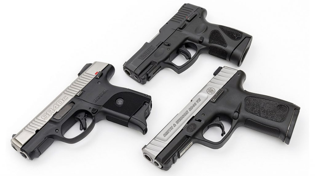 The .40 S&W cartridge and the handguns chambered for it are still viable defense guns; the ones tested were a Ruger SR40c, S&W SD40 VE and Taurus G2C.